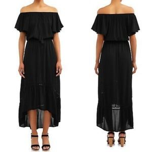 Time & Tru Black Off the Shoulder Dress